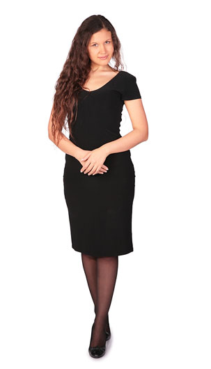 young woman wearing a black dress