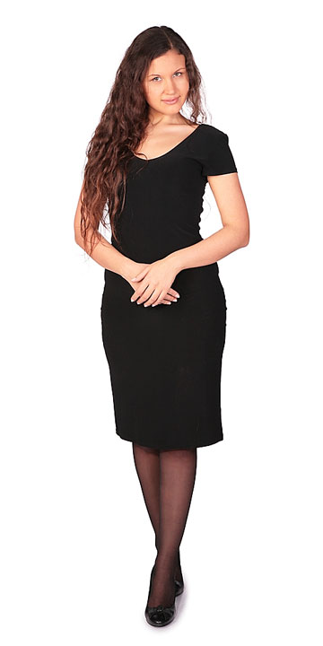 young woman wearing a black dress