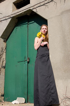 black maxi-length dress