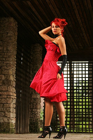 young woman wearing a red dress - fashion portrait